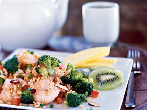 1404 Shrimp and Broccoli Fried Rice with Toasted Almonds