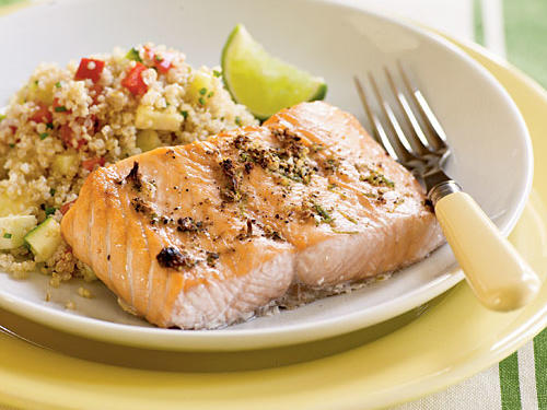 Broiled Salmon with Peppercorn-Lime Rub Recipe