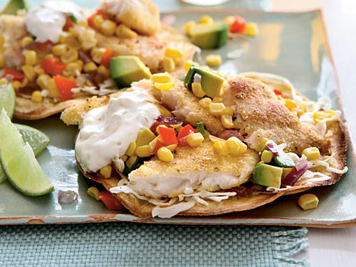 Tilapia Tostadas with Roasted Corn Relish Recipe