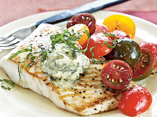 Sautéed Halibut with Lemon-Pesto Butter