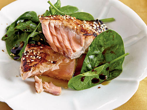 Miso-Glazed Salmon with Wilted Spinach Recipe