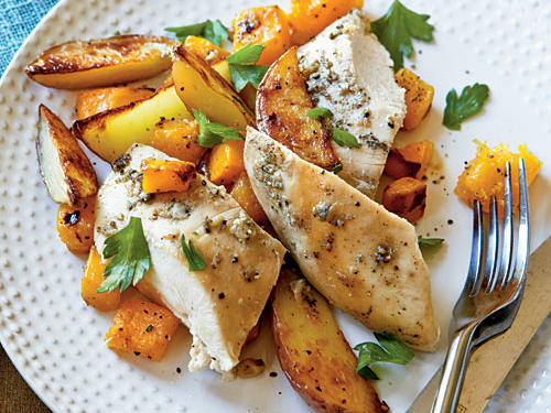Roast Chicken with Potatoes and Butternut Squash