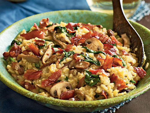 May: Bacon and Wild Mushroom Risotto with Baby Spinach