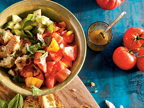 Bell Pepper, Tomato, Cucumber, and Grilled Bread Salad