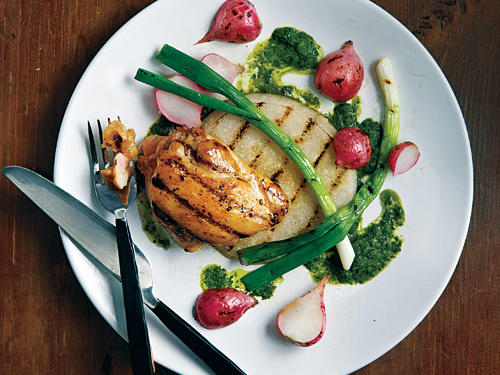 Grilled Jicama, Radishes, Scallions, and Chicken with Asian-Style  Chimichurri