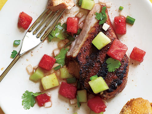 Grilled Pork Chops with Two-Melon Salsa Recipe