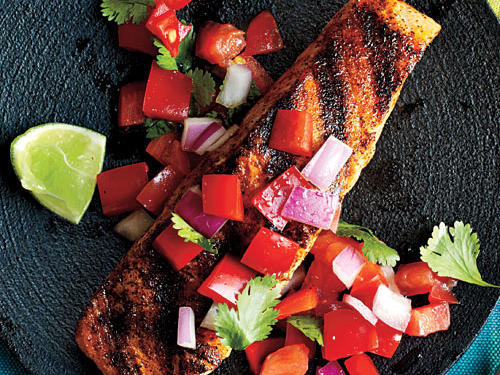 Pan-Grilled Salmon with Red Pepper Salsa Recipes