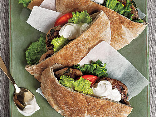 Turkey Burger Pitas with Tahini Sauce Recipe