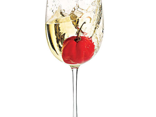 Wine glass with pepper photo