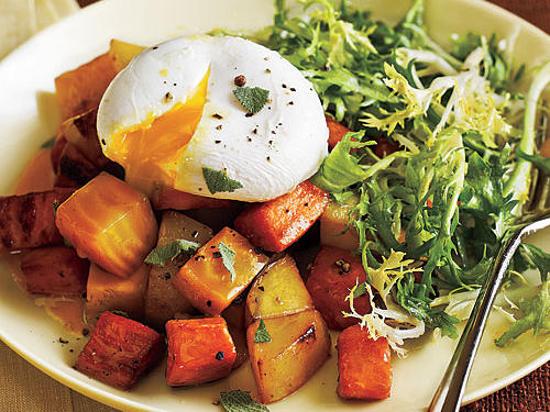 Two Potato and Beet Hash with Poached Eggs and Greens Recipes