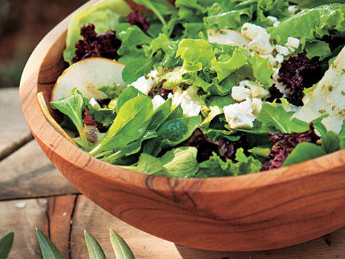 Mixed Lettuce, Pear, and Goat Cheese Salad with Citrus Dressing recipes from Lynmar Estate in Sonoma Valley