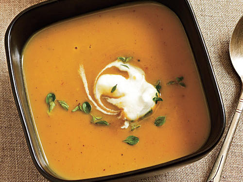 Roasted Chestnut Soup with Thyme Cream Recipe