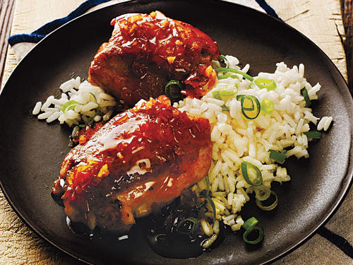 Ginger-Soy Chicken Thighs with Scallion Rice Cooking Light Diet