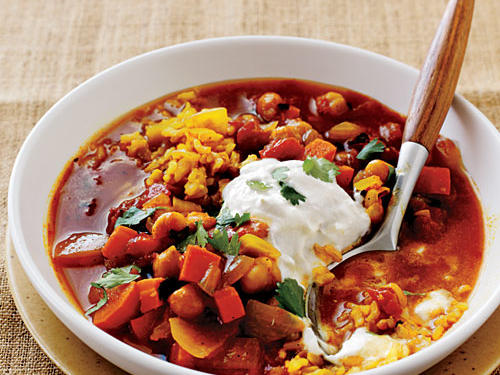 Curried Chickpea Stew with Brown Rice Pilaf Whole-Grain Recipe