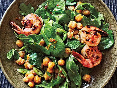 Best Crispy Chickpea Salad with Grilled Prawns Recipe