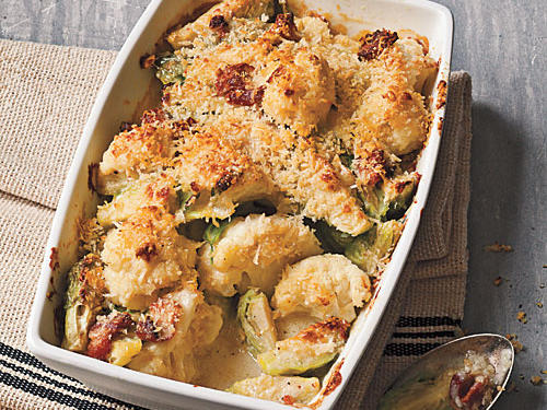 Crispy Topped Brussels Sprouts and Cauliflower Gratin Recipe