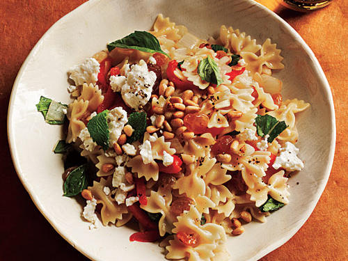 100 Pasta Recipes: Mini Farfalle with Roasted Peppers, Onions, Feta, and Mint