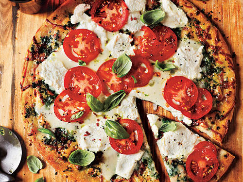 White Pizza with Tomato and Basil