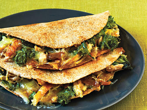 Chicken, Mustard Greens, and Gruyère Quesadillas