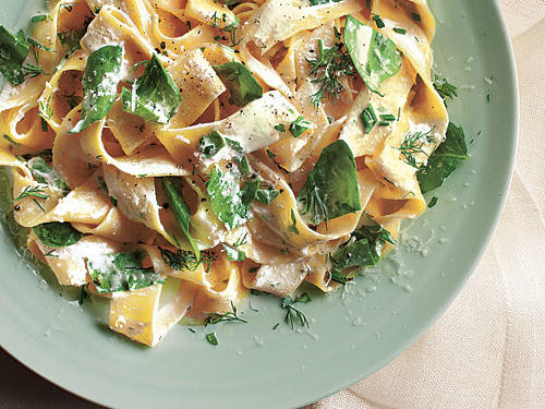 Pappardelle with Baby Spinach, Herbs, and Ricotta Recipe