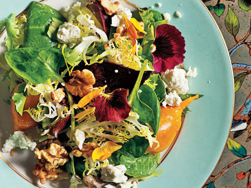 Beets with Walnuts, Goat Cheese, and Baby Greens Recipe