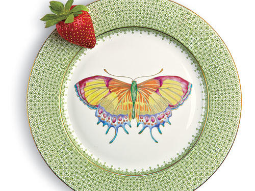 Mottahedeh Green Apple Lace Butterfly Dessert Plate