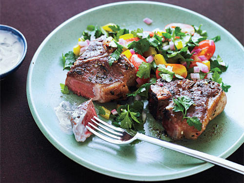 Greek Lamb Chops and Mint Yogurt Sauce Recipe