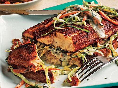 Open-Faced Blackened Catfish Sandwiches
