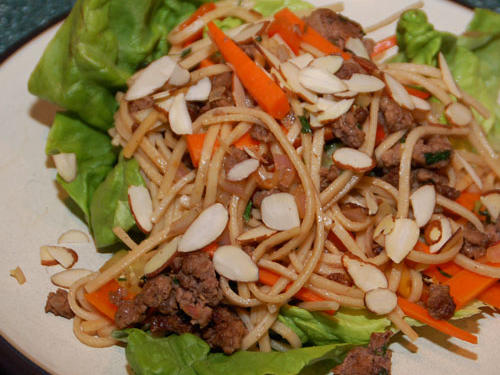 Kat's Asian Beef and Noodle-Filled Lettuce Cups