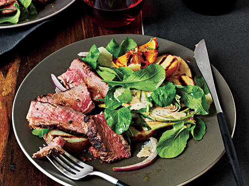 Tuscan-Style New York Strip with Arugula-Artichoke Salad Recipe