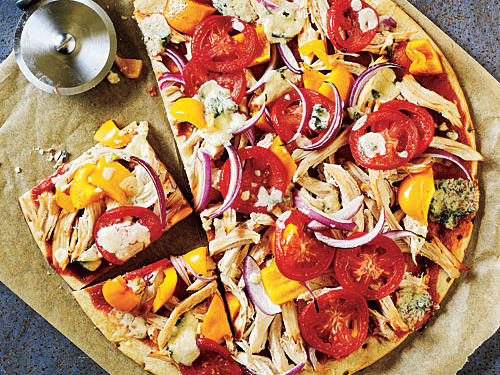 BBQ Chicken and Blue Cheese Pizza