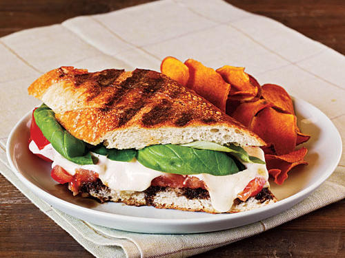 Summer Tomato, Mozzarella, and Basil Panini with Balsamic Syrup Recipe