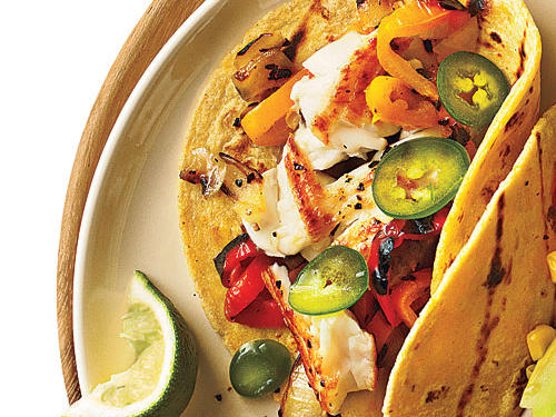 Sautéed Tilapia Tacos with Grilled Peppers and Onions