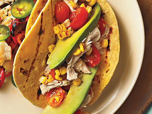 Shredded Chicken Tacos with Tomatoes and Grilled Corn Recipe