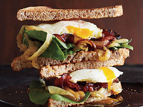 Bacon and Egg Sandwiches with Caramelized Onions and Arugula Comfort Food Recipe
