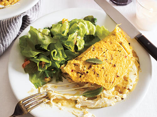 Mozzarella Omelet with Sage and Red Chile Flakes Comfort Food Recipe