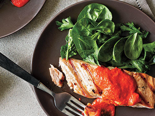 Salmon with Red Pepper Pesto Recipe