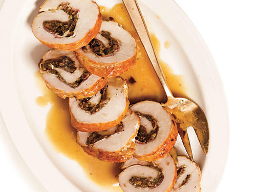 Braised Turkey Roulade with Pancetta, Shallots, and Porcini Gravy