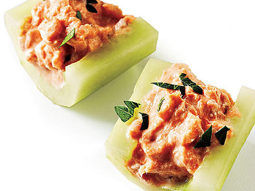 Smoked Salmon in Cucumber Boats