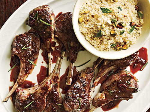 Currant-Glazed Lamb Chops with Pistachio Couscous Recipe