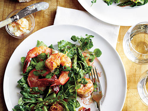 Romaine, Asparagus, and Watercress Salad with Shrimp