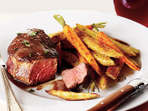 Lightened Beef Filets with Red Wine Sauce and Roasted Veggie Fries