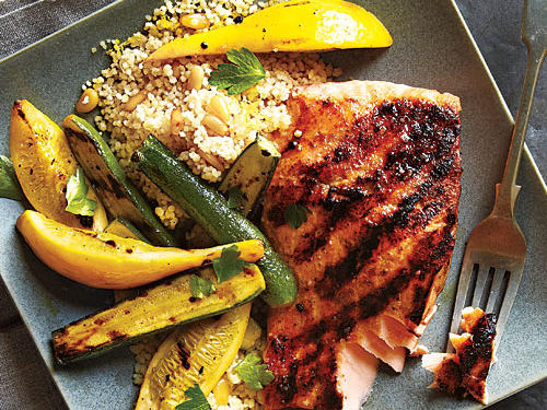 Grilled Salmon and Brown Butter Couscous