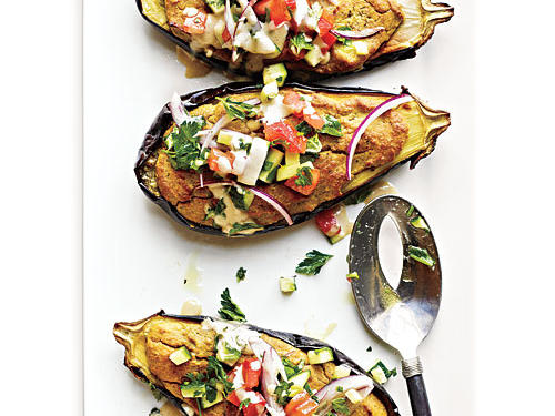 Falafel-Stuffed Eggplant with Tahini Sauce and Tomato Relish