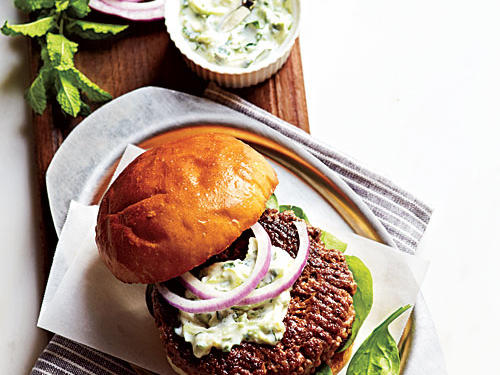 Lamb Burgers with Cilantro Raita