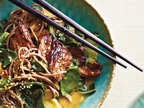Beef Soba Noodles with Spinach and Coconut-Curry Vinaigrette