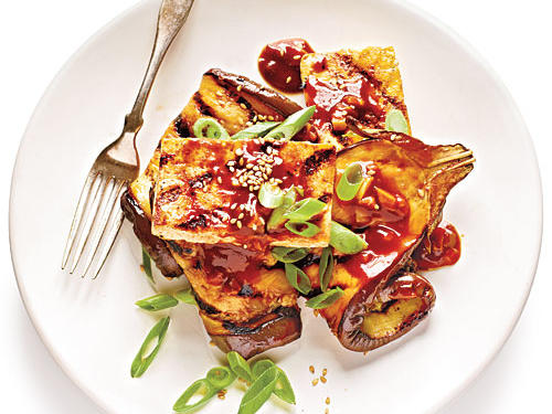 1207 Grilled Eggplant and Tofu Steaks with Sticky Hoisin Glaze