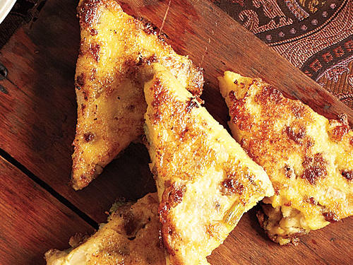 Polenta-Sausage Triangles