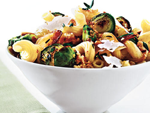 Cavatappi with Browned Brussels Sprouts and Buttery Breadcrumbs