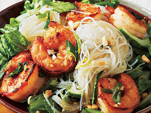 1302 Vietnamese Salt and Pepper Shrimp Rice Noodle Bowl